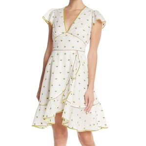 Marc Jacobs Floral Embroidered Ruffle Dress White